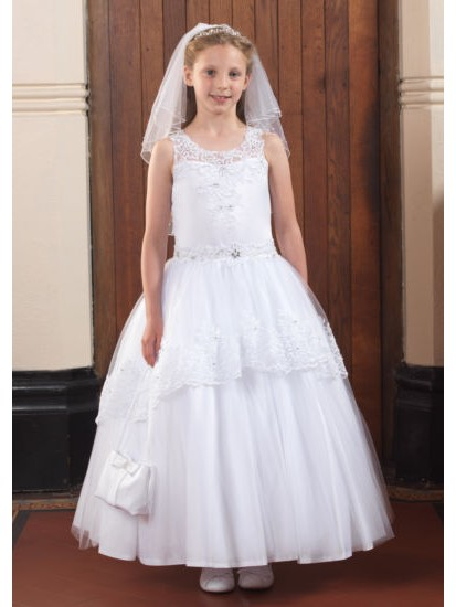 Illusion neckline Holy Communion gown with will skirt and lace detail and b...