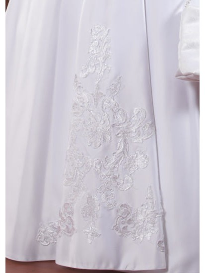 Sleeveless First Communion Dress with Lace Detail :...