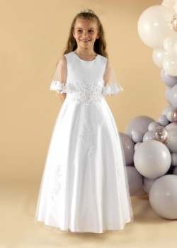 A beautiful satin and tulle first communion dress