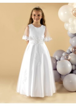 A beautiful satin and tulle First Holy Communion Dress: