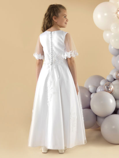 A beautiful satin and tulle First Holy Communion Dress:...