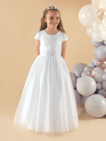A simple but angelic short sleeve tulle First Holy Communion dress:...