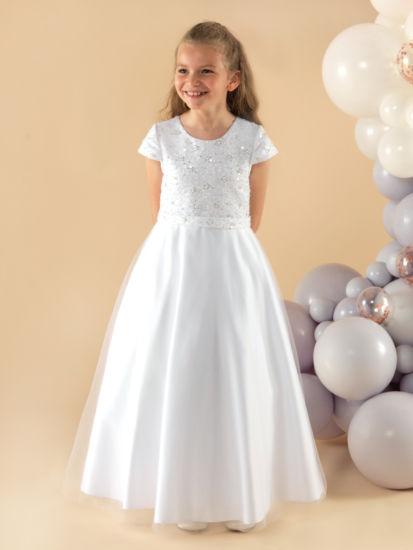 A pretty full length First Holy Communion Dress:...