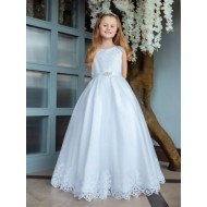 Holy Communion Dress with Beaded Lace Bodice with Scallop Lace Hem: