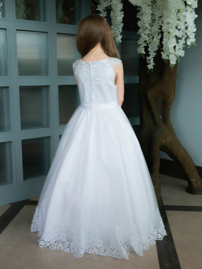 Holy Communion Dress with Beaded Lace Bodice with Scallop Lace Hem:...