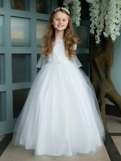 Beautiful Bell Sleeve First Communion Dress:...
