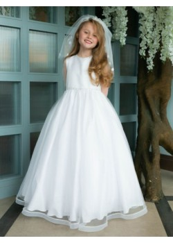 Long Sleeve Gown with Sparkle Hem for First Holy Communion: