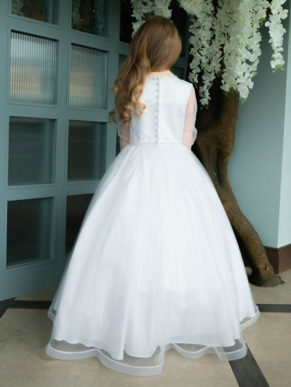 Long Sleeve Gown with Sparkle Hem for First Holy Communion:...
