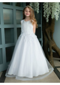 Pretty 3D Floral Holy Communion Gown with Wide Hem: