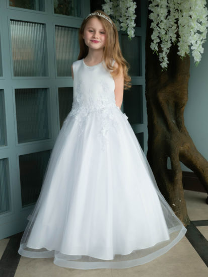 Pretty 3D Floral Holy Communion Gown with Wide Hem:...
