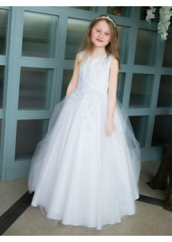 Floral Bodice First Holy Communion Gown: