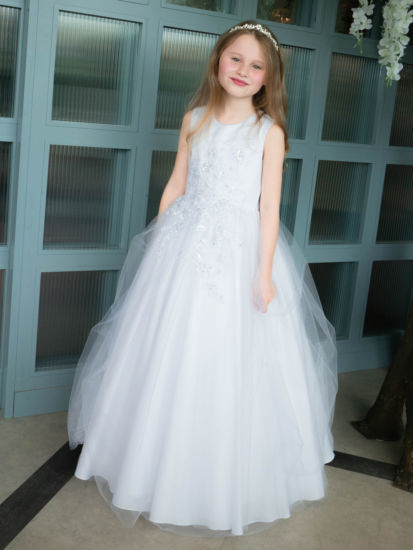 Floral Bodice First Holy Communion Gown:...