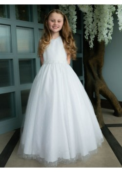 Holy Communion Dress with Sparkle Tulle Gown with Beaded Belt: