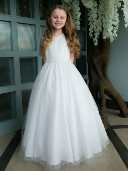 Holy Communion Dress with Sparkle Tulle Gown with Beaded Belt:...