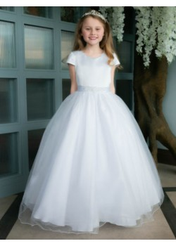 First Holy Communion dress with Satin Capped Sleeve Dress: