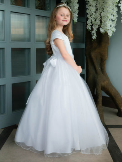 First Holy Communion dress with Satin Capped Sleeve Dress:...