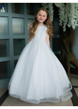 Textured Tulle First Communion Dress with Horsehair Hem: