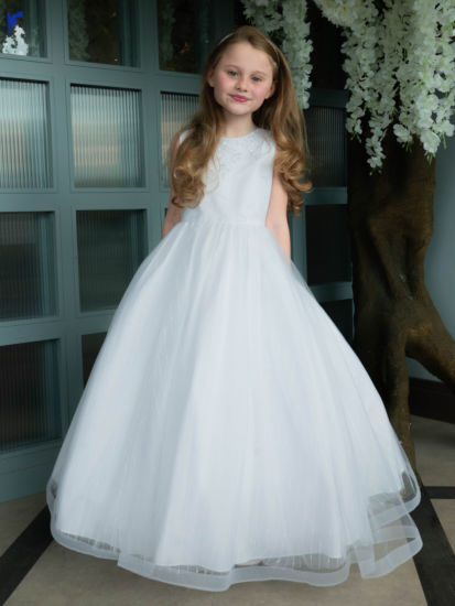 Textured Tulle First Communion Dress with Horsehair Hem:...
