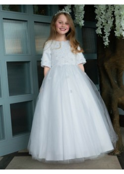 Pearl & Flower First Holy Communion Dress with 3/4 Length Sleeve: