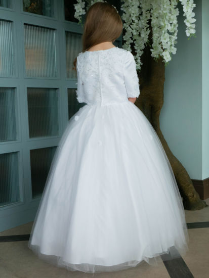 Pearl & Flower First Holy Communion Dress with 3/4 Length Sleeve:...