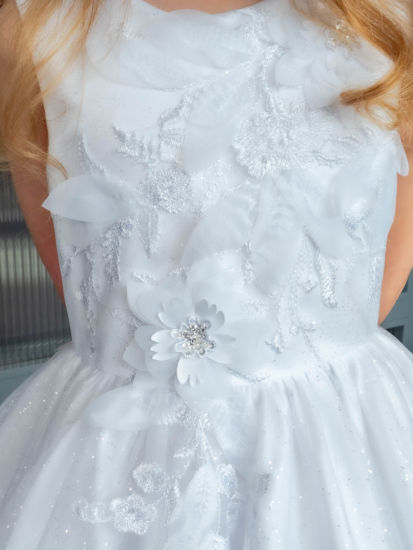 Sparkle Tulle First Holy Communion Dress with 3D Flowers:...