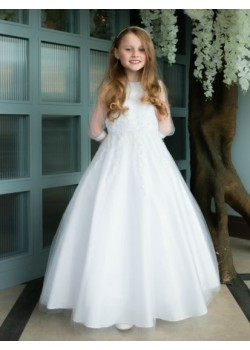 Puff Sleeve First Communion Dress: