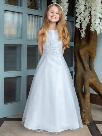 Satin & Tulle A Line First Holy Communion Dress with Flowers:...