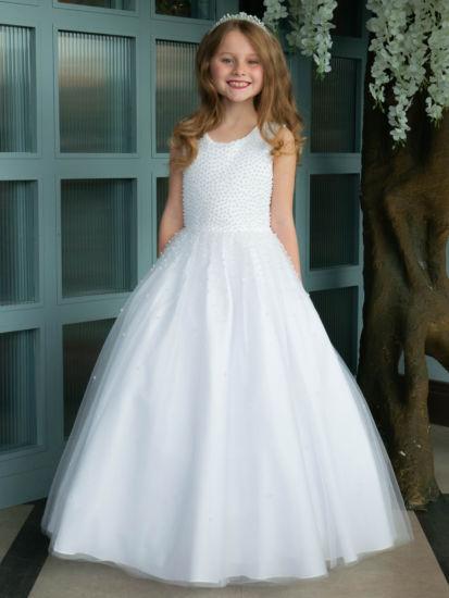 Pearl Bodice Holy Communion Dress:...