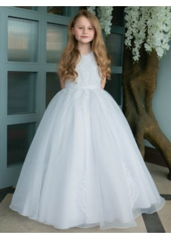 First Holy Communion Organza Dress with Ornate Embroidery: