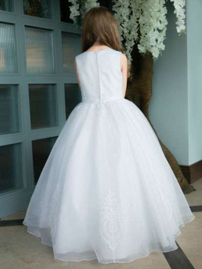 First Holy Communion Organza Dress with Ornate Embroidery:...