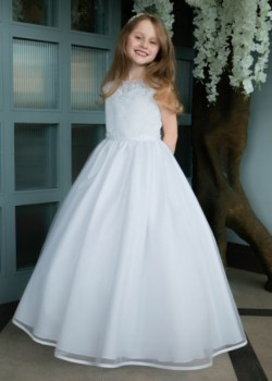 Sweetheart Illusion Tulle First Communion Dress with Satin Edge Hem: