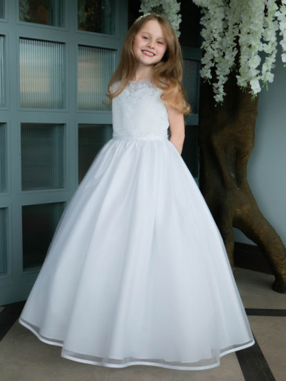 Sweetheart Illusion Tulle First Communion Dress with Satin Edge Hem:...