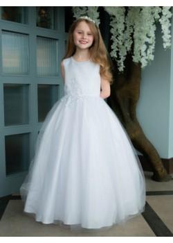 Floral Waist Dress with Sparkle Neckline