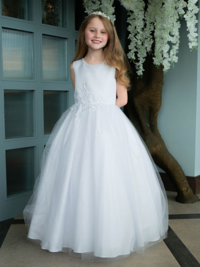 Floral Waist Holy Communion Dress with Sparkle Neckline:...