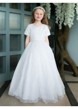 Short Sleeve Lace First Holy Communion Dress: