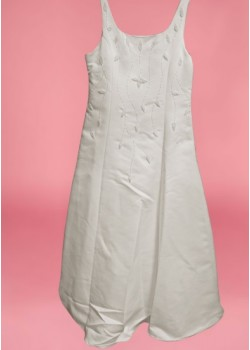 Satin Squared Necked strapped sleeveless  Holy Communion Dress:
