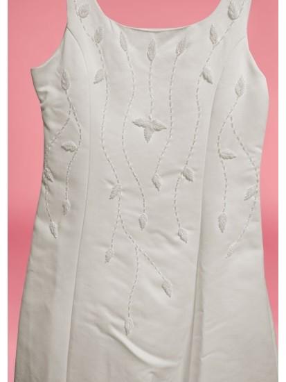 Satin Squared Necked strapped sleeveless  Holy Communion Dress:...