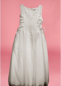 Sleeveless Round Neck flarred satin/net  Holy Communion Dress: