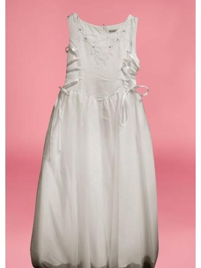 Sleeveless Round Neck flarred satin/net  Holy Communion Dress:...