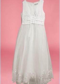 Sleeveless Round Neck satin/net flarred  Holy Communion Dress