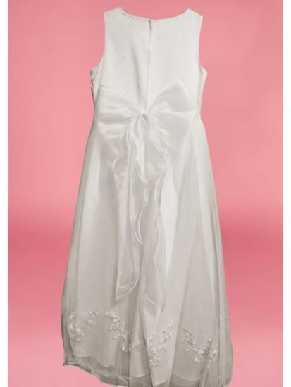 Sleeveless Round Neck satin/net flarred  Holy Communion Dress:...