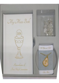 First Holy Communion Gift Set, Mass Book, Rosary Beads & Medal