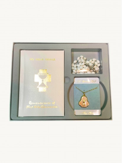 Gift Set, Mass Book, with Rosary & Medal For Holy Communion...