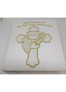 White Embroidered Covered First Communion Photo Album