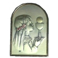 Free standing Sterling Silver Plaque for your special Holy Communion Girl