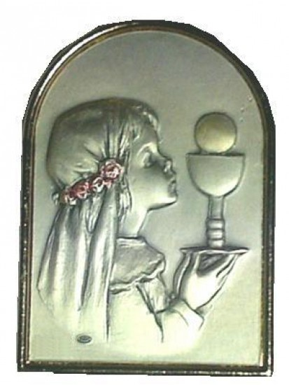 Free standing Sterling Silver Plaque for your special Holy Communion Girl...
