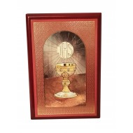 Holy Communion Wooden Plaque with Chalice Motif Gift