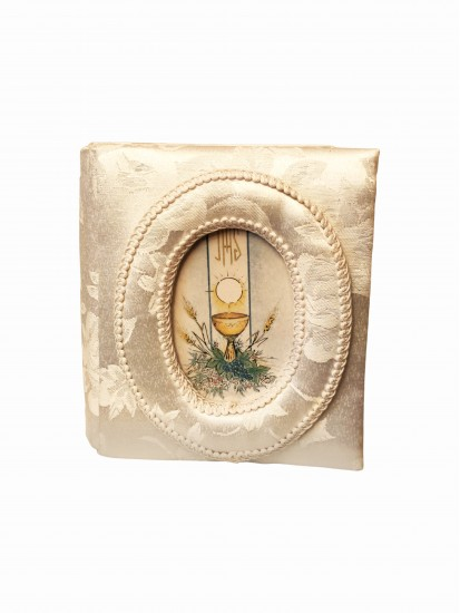 Embroidered Covered Photo Album with Front Oval First Communion Photo Frame...