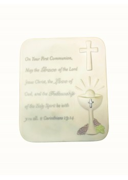 White Porcelain Bisque Plaque For Communion With Clip to hang on a wall