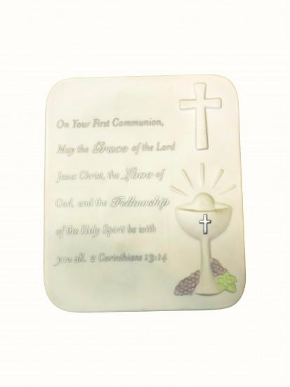 White Porcelain Bisque Plaque For First Holy Communion With Clip to hang on...